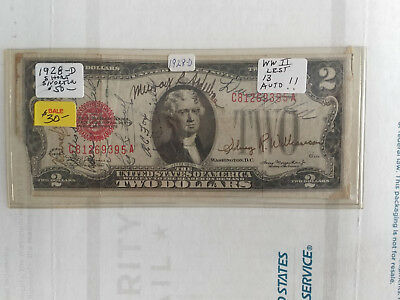 1928-D $2 Red Seal United States Note - Short Snorter - Free Shipping