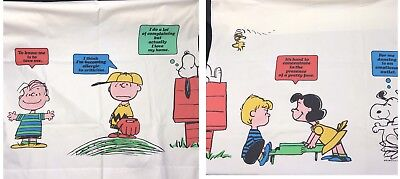"""Lot 2 Vtg 70s 1971 Peanuts Snoopy Curtain Panels Large Graphics 33 X 80"""""""