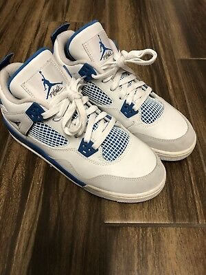 Nike Air Jordan Iv 4 Retro White Military Blue Sz 6Y