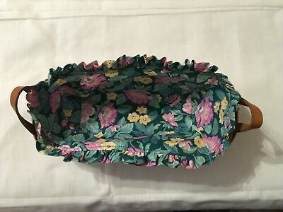 Longaberger Bread Basket w/Cloth and Plastic Liners 2 Handles; Signed 1994