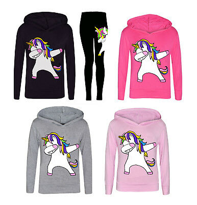 New Dabbing Girls Kids Unicorn Hooded Top and Leggings Tracksuit Set Dab Floss