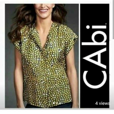 d769163311b112 CAbi #183 Clover Polka Dot Gray & Yellow Printed Washable Silk Top Blouse S