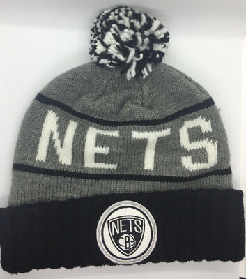 Mitchell /& Ness NBA Brooklyn Nets Team Cuffed Pam Knit Beanie Hat Cap with Pin