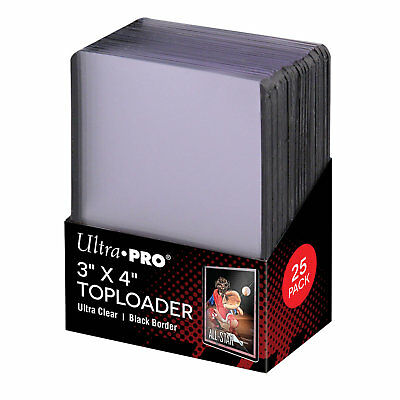 "Ultra Pro 3"" x 4"" Top Loader Card Protectors with Black Border - Packet of 25"