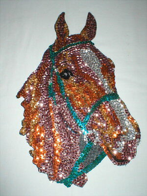 """Vintage Sequin Horse Head - Custom Made - Large 12"""" x 8"""" - Equestrian"""