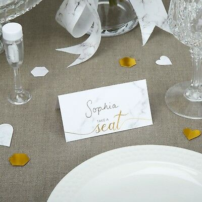 25 TABLE PLACE CARDS Wedding SCRIPTED MARBLE Effect White Grey Name Engagement