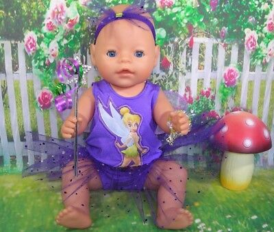 "Dolls clothes for 17"" Baby Born doll~PURPLE TINKERBELL FAIRY DRESS & ACCESSORIES"