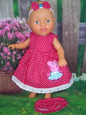 """Dolls clothes for13"""" My Little Baby Born Doll~ PEPPA PIG DARK PINK SPOTTY DRESS"""