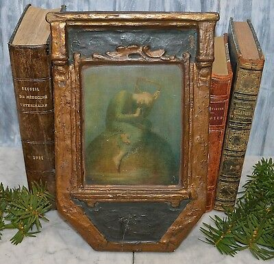 Antique Polychrome Gilded Art Hope By George Frederic Watts Mounted on Wood