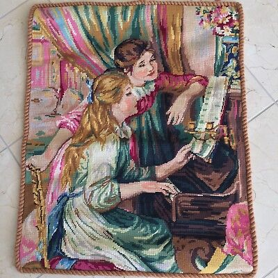 Needlepoint Hand Stitched Antique Tapestry Wall Hanging / Women Piano