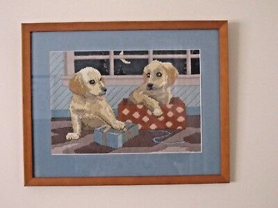 Wonderful Vintage Framed Playful Puppies Tapestry Needlepoint.