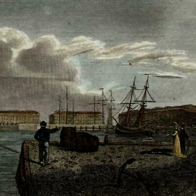 London England Docks Wapping c. 1800 engraved hand colored charming small view