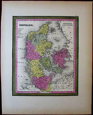 Denmark Scandinavia Europe 1851 Cowperthwait Mitchell fine scarce hand color map