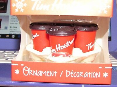 New 2018 TIM Hortons Coffee Takeout Carryout TRAY & Red CUPS Christmas ORNAMENT