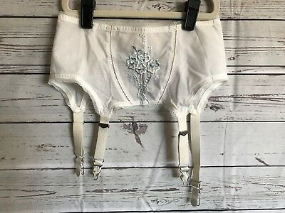 Vintage 60's Fairform Fair Form by Gold Seal White Embroidered Garters size 26