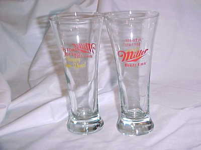 "2 Vtg Miller Beer Glasses ""A Toast for Two"" Happy New Year Libbey Glassware"