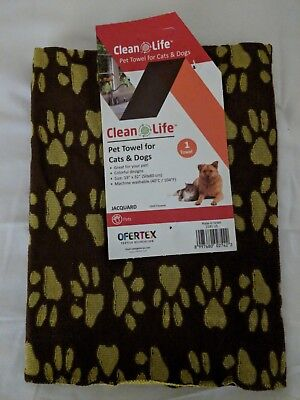 "Clean Life Pet Puppy Cat Dog Paw Prints Grooming Towel 19"" X 32"" Brown/Yellow"