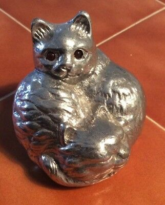 2 Cats Curled Up Paperweight Cat Figurine Arthur Court 1992 Auction Find Red Eye