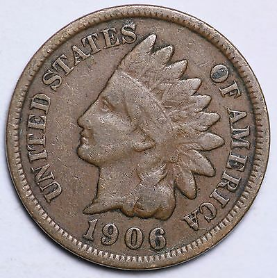 1906 Indian Head Cent Penny / Circulated Grade Good / Very Good 95% Copper Coin