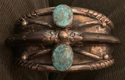 Important Spectacular Carl Luthy Shop No. 8 Turquoise Bracelet Hand Constructed