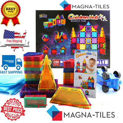 Magna Tiles 100pc Clear Color 3D Magnetic Building Tiles - Valtech - new in box