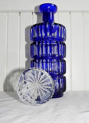 Stunning Antique Bohemian Cobalt Blue Cut to Clear Crystal Glass Wine Decanter