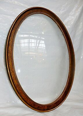 """Antique Convex Bubble Glass Wood Wooden Frame No Photo Oval 22"""" x 16"""" Victorian"""