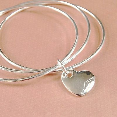 Sterling Silver Plated Triple Rings with Large Heart Charm Bangle
