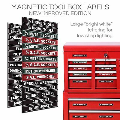 Magnetic Label Set Tool Box Snap-on Drawers Tabs Adjustable Steel Chest Tickets