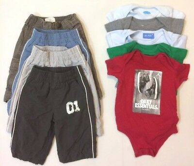 Baby Boy's Size 3-6 Month 9 Piece Clothes Lot One Pieces Pants Mixed Items