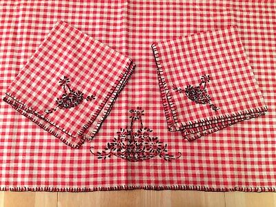 Vintage Red Gingham w/ Black Embroidery Small Tablecloth & Two Matching Napkins