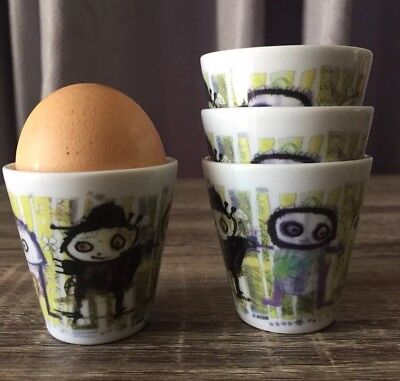 POUL PAVA DANISH ARTIST PORCELAIN EGG CUPS SET OF 4. Be Friends Wall By Aida NEW