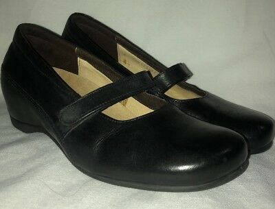89515b45e74b Wolky Size 38 7 women s Black Leather Wedge Brushed Lenox 4022 Mary Janes