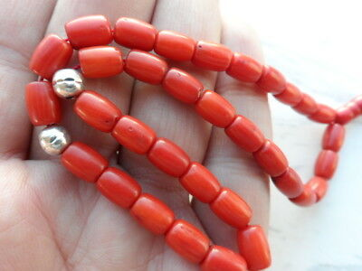 Antique Old Genuine Natural Undyed Red Coral Prayer Beads