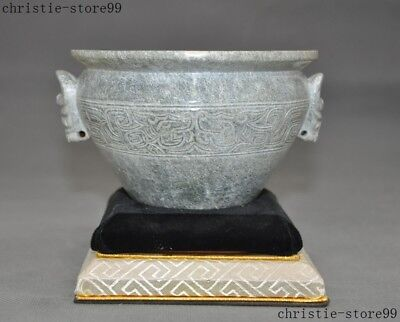 "6""Chinese natural Hetian jade Hand carved Dragon pattern beast Head Tea cup bowl"