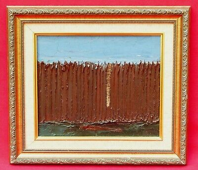 Isaac I. Monteiro Brown Rustic Picket Fence Abstract Art Impasto Oil Painting