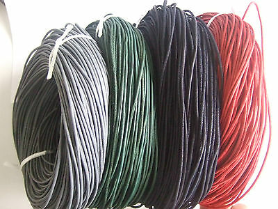 5M 4 Colors High Quality Real Genuine Soft Rough 2mm Round Leather String