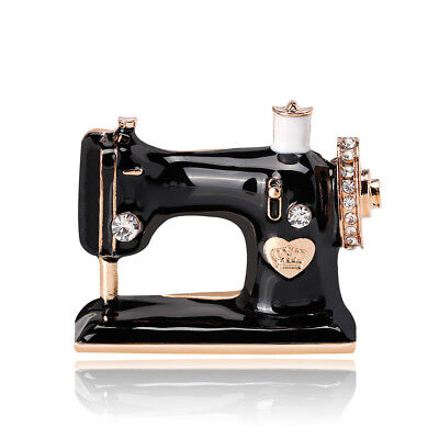 Charms Black Enamel Crystal Crown Heart Sewing Machine Brooch Pin For Lady Gift