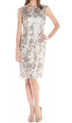 f89cd628 NWT Adrianna Papell Floral Sequin Embroidered Sheath Cocktail Dress US 6  Bridal