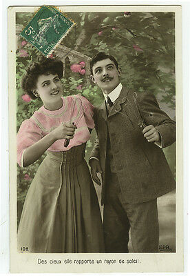 c 1910 Antique Toys Couple PLAYING BALL GAME Catching tinted photo postcard