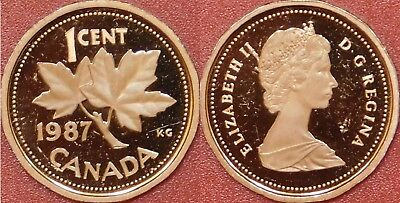 Proof 1987 Canada 1 Cent From Mint's Set Scratched