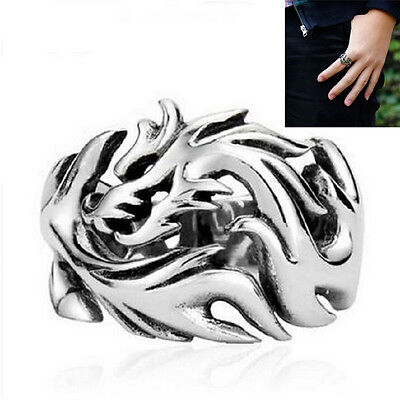 Retro Fashion Men Stainless Steel Black Silver Chinese Dragon Ring Jewelry