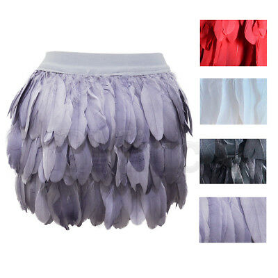 Ladies Goose Feather Mini Skirts Natural Plume Elastic Waist A-Line Short Skirt