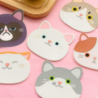 Cup Silicone Coasters Cute Cat Pattern Coffee Drink Holder Mat Pads Novelty