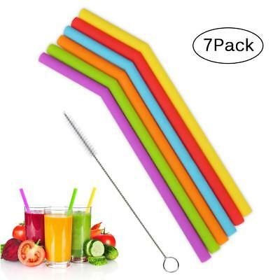 Reusable Silicone Drinking Straws Long Flexible Straws with Cleaning Brushes Hot