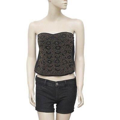 ddb275cd537 184221 New Silence + Noise Urban Outfitters Embellished Black Crop Tube Top  S