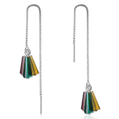 Muye 925 Sterling Silver Colorful CZ Tassel Earrings For Beautiful Women Gift