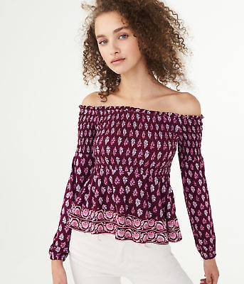 584264ed39a62 aeropostale womens long sleeve paisley flower smocked off-the-shoulder top