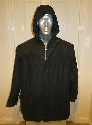 """Barbour A6 Hooded Lined Durham Working Wax Jacket, Blue C42, 50"""" Chest  (Bd42-1)"""