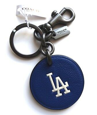 Genuine COACH LA DODGERS Leather Keyring MLB Baseball Los Angeles Official New